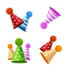 Realistic detailed 3d party hat with fluffy balls vector