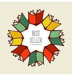 Retro best seller book flower vector