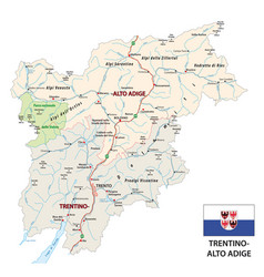 Road map italian region trentino-alto adige vector