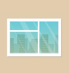 room window city skyline view vector image