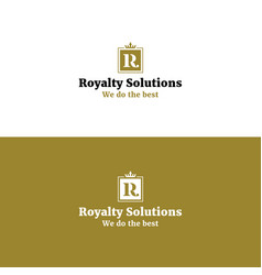 royal abstract r letter logo with crown vector image