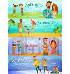 Season Family Banners vector