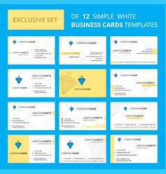 set of 12 diamond creative busienss card template vector image