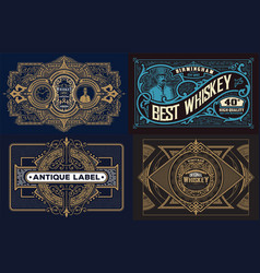 set templates with banners vintage and design vector image