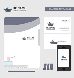 ship business logo file cover visiting card and vector image