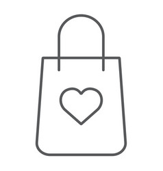 shopping bag with heart thin line icon package vector image