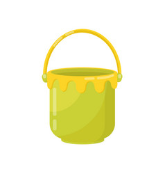 small green bucket with yellow handle plastic vector image