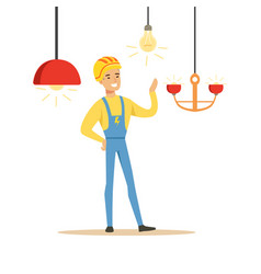 smiling electrician in uniform installing vector image