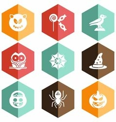 Solid icons Halloween celebration vector