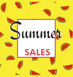 summer sales background with watermelon parts vector image