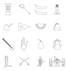 Turkey travel icons set vector