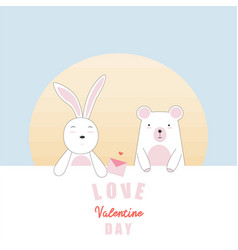 valentines day card with bunny and bear in love vector image