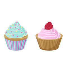 Various cakes with cupcakes vector