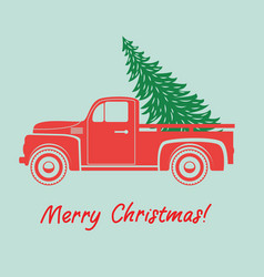 vintage pickup truck delivery christmas tree vector image