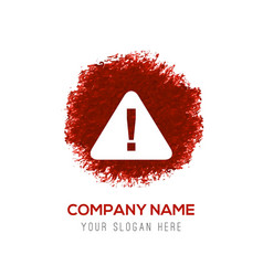 warning icon - red watercolor circle splash vector image