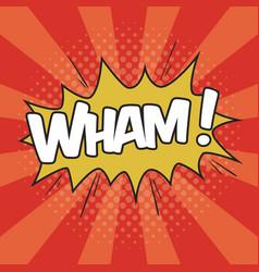 Wham wording sound effect for comic speech bubble vector