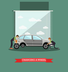 wheel change car repair service vector image