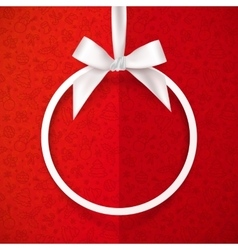White holiday round frame with bow and silky vector