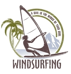 windsurfing emblem on a white background vector image