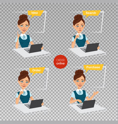 woman makes order online four stages of process vector image