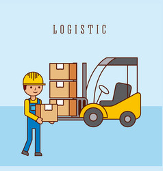 worker forklift with cardboard boxes logistic vector image
