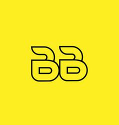 Yellow black line alphabet letter bb b b logo vector