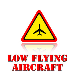 Yellow warning low flying aircraft icon background vector