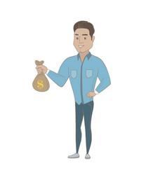 young hispanic businessman holding a money bag vector image