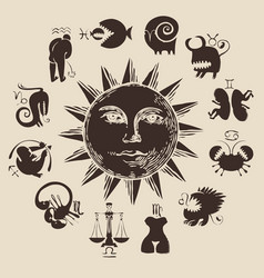 zodiac circle with sun and funny characters vector image