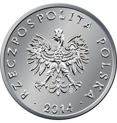 obverse Polish Money one zloty coin vector image vector image