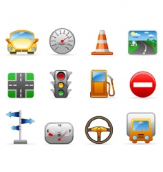 transport and road icon set vector image vector image