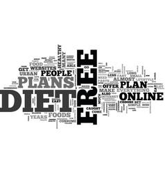what comes with free diet plans text word cloud vector image vector image
