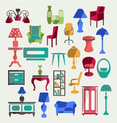 Furniture in flat style vector image vector image