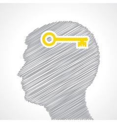 Hand drawn man s face with key in his head vector image vector image