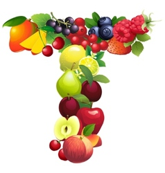 Letter T composed of different fruits with leaves vector image vector image