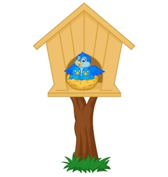Mother bird with her two babies in the nest vector image vector image