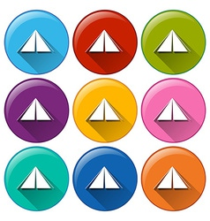 Round icons with camping tents vector image vector image