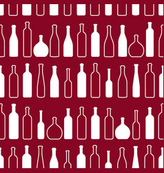 wine bottles silhouette outline red seamless vector image