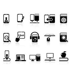 digital books and e-books icons vector image