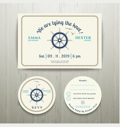 Nautical we are tying the knot wedding invitation vector