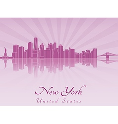 New York skyline in purple radiant orchid vector image vector image