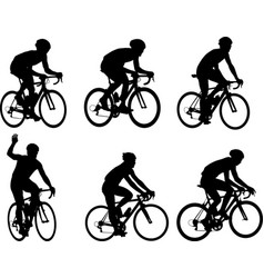 racing bicyclists silhouettes collection vector image vector image