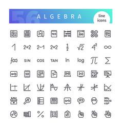 algebra line icons set vector image