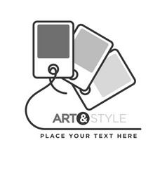 Art and style company logotype with paper samples vector
