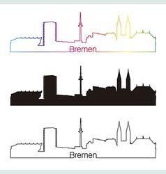 Bremen skyline linear style with rainbow vector image vector image