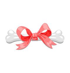 dog china 2018 new year bone with red ribbon vector image vector image