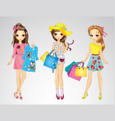 Fashion Girl Friends Do Shopping vector image