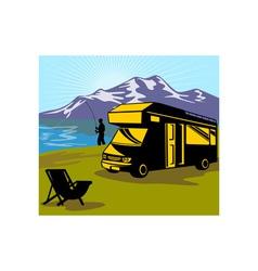 Fly fisherman fishing mountains camper van vector image