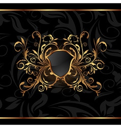 golden ornate frame with shield vector image vector image