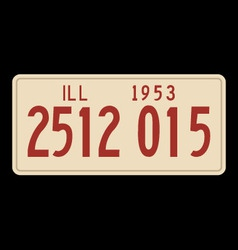 Illinois 1953 license plate vector image vector image